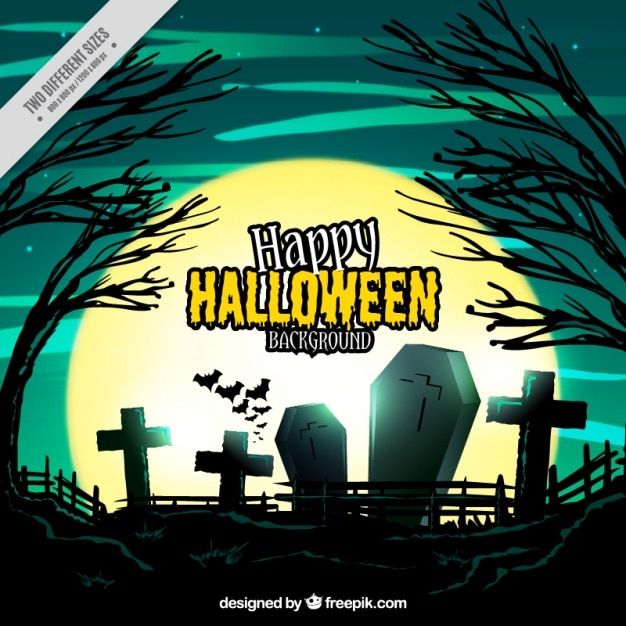 Halloween background of cemetery Free Vector