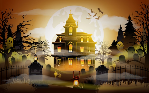 Halloween background. old scary house. Premium Vector