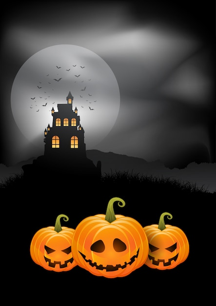 Halloween background pumpkins and spooky castle Free Vector