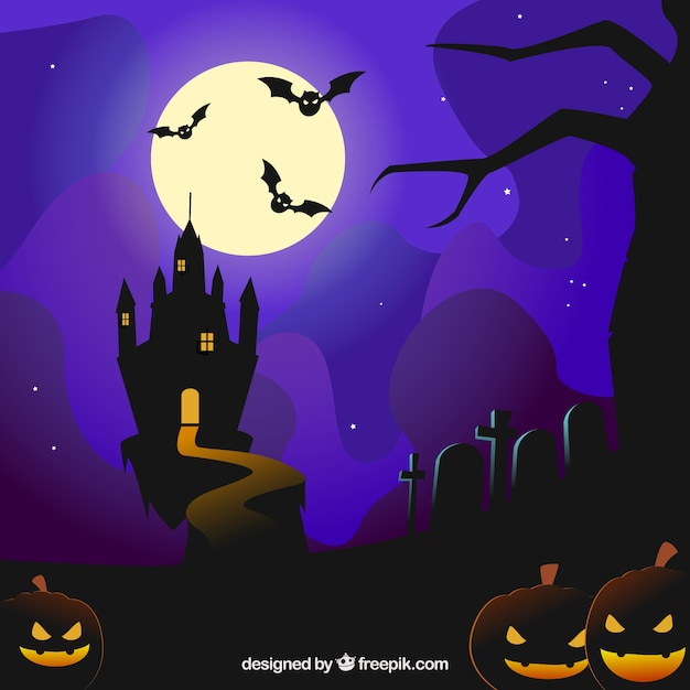 Halloween background with a castle and bats\ flying