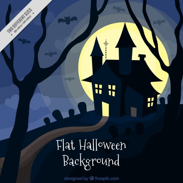 Halloween background with a house in flat style Free Vector