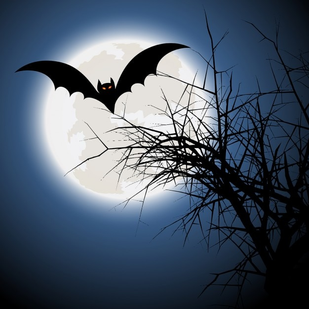 halloween background with bat and spooky tree vector