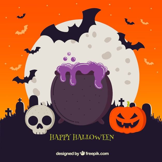 Halloween background with cauldron and other elements Free Vector