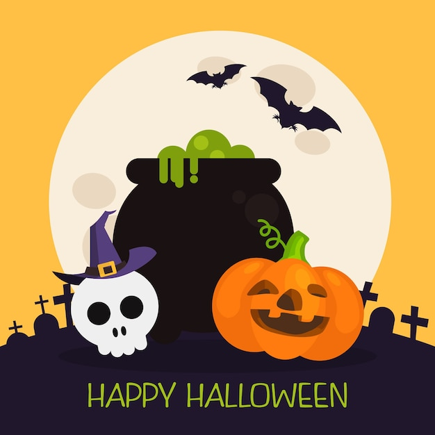 Halloween background with cauldron and other elements Premium Vector