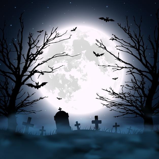 墓地、木、月とハロウィーンの背景。図 Premiumベクター