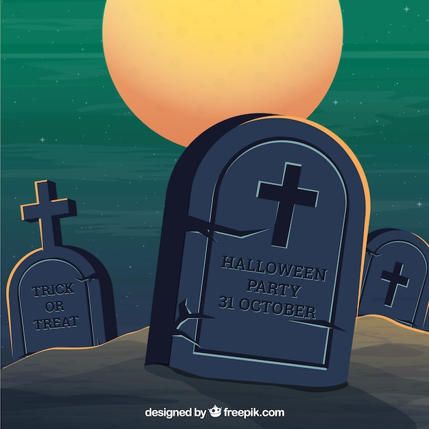 Halloween background with classic tombstones Free Vector