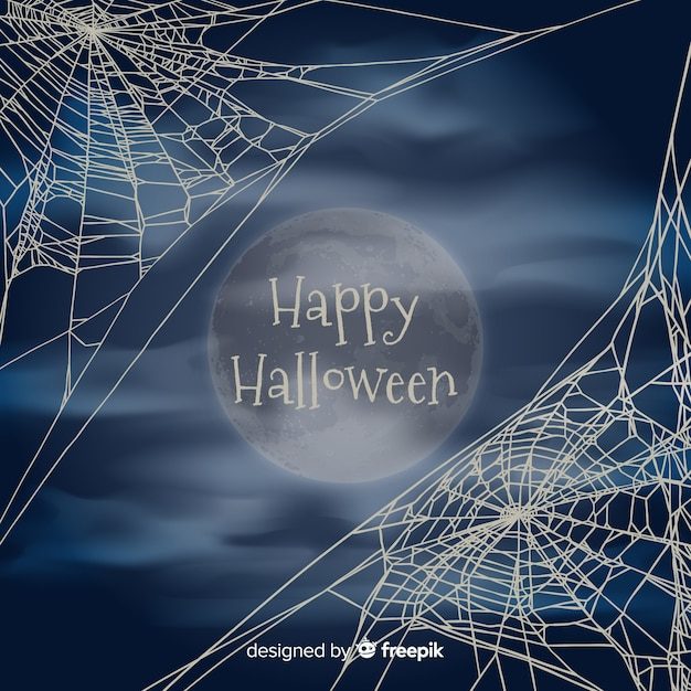 Halloween background with cobweb Free Vector