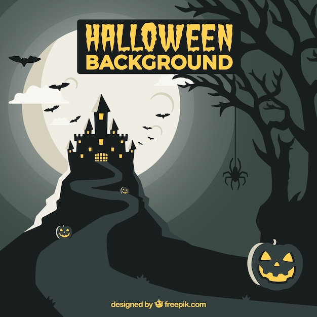 Halloween background with creepy mansion