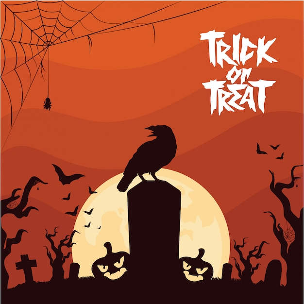 Halloween background with crow at the graveyard Premium Vector