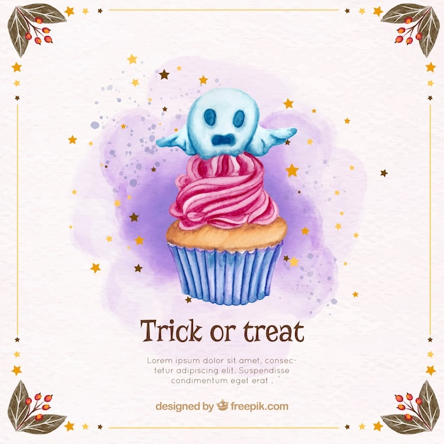 Halloween background with cupcake and decorative ghost Free Vector