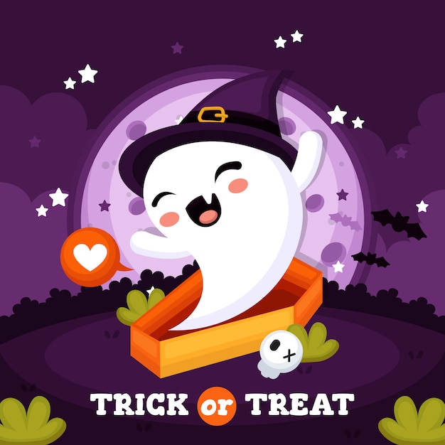 Halloween background with cute ghost Premium Vector