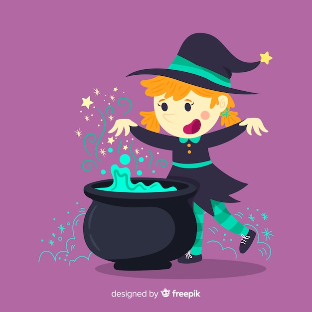 Halloween background with cute witch Free Vector