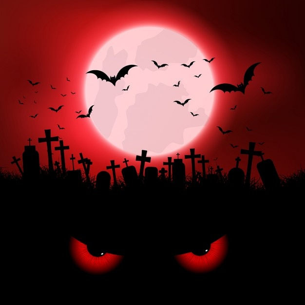 Halloween background with evil eyes and graveyard Free Vector