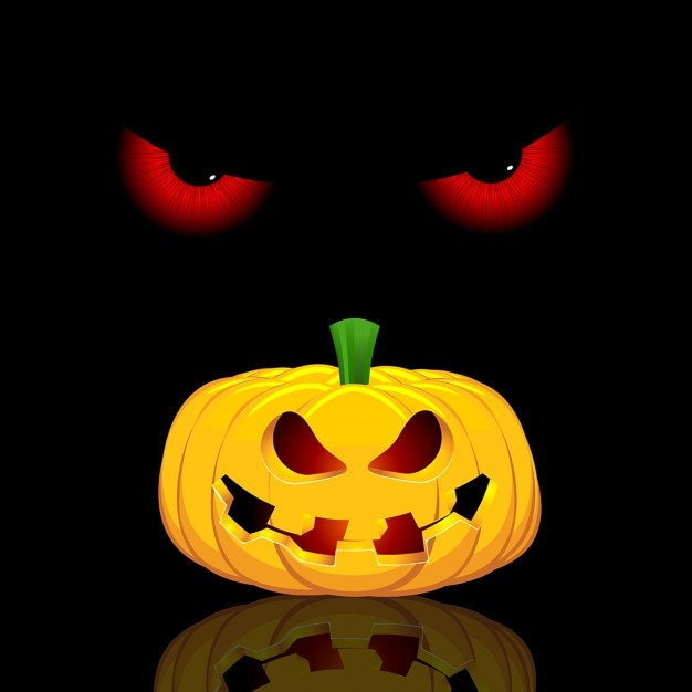 Halloween background with evil eyes and\ pumpkin