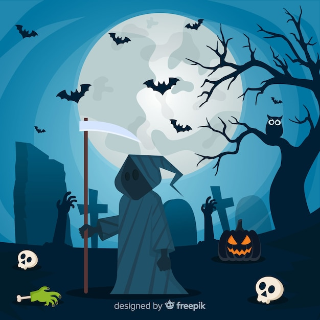 Halloween background with flat design Free Vector