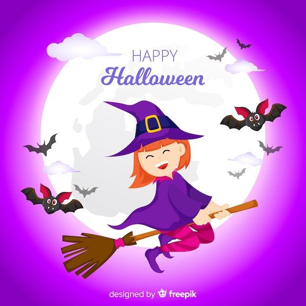Halloween background with flying witch Free Vector