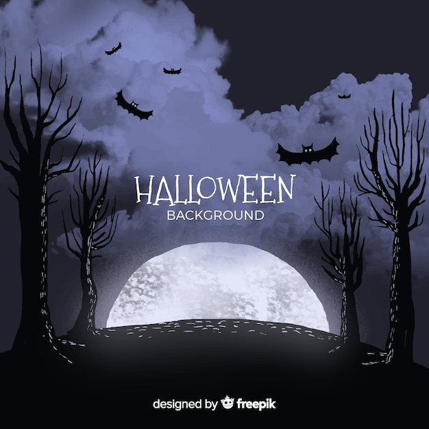 Halloween background with full moon, bats and trees Free Vector