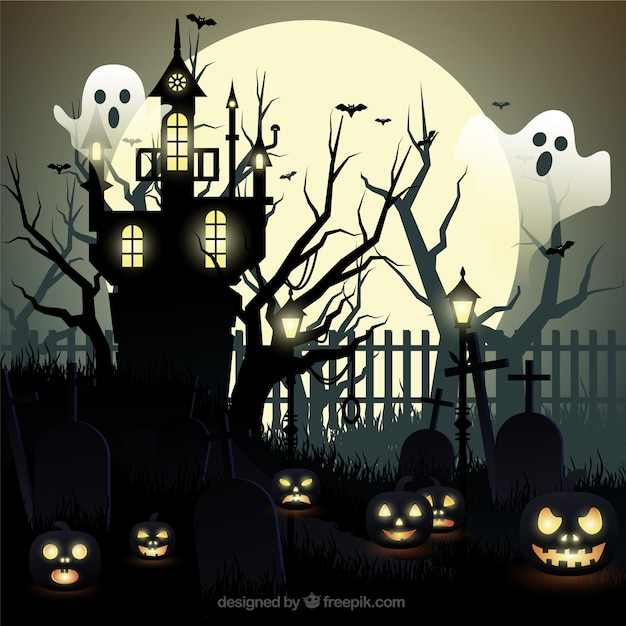 Halloween Background With Ghosts And Haunted House Free Vector