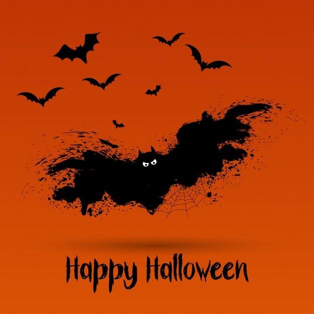 halloween background with grunge bat design vector free