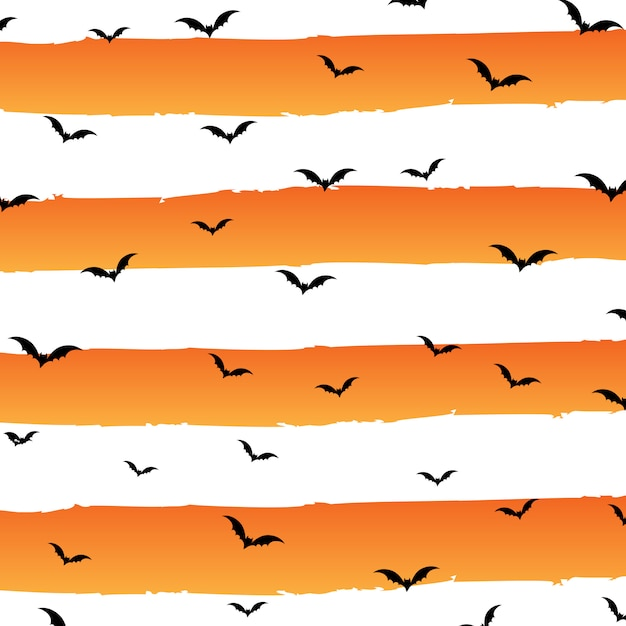 Halloween background with grunge stripes and bats Free Vector