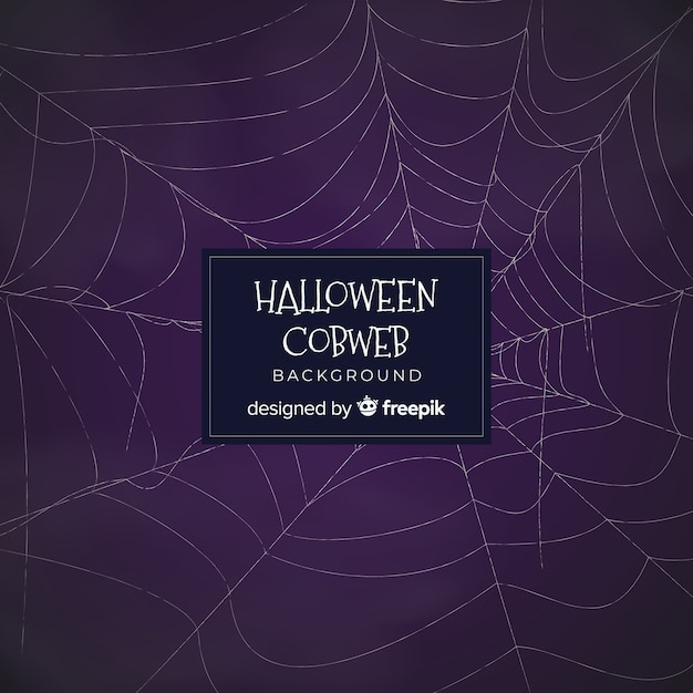 Halloween background with hand drawn cobweb Free Vector