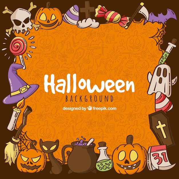 Halloween Background With Hand Drawn Elements Vector Free Download