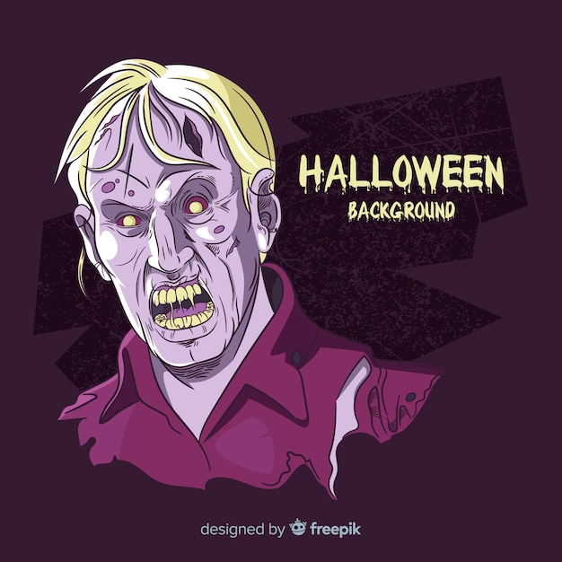 Halloween background with hand drawn zombie Free Vector