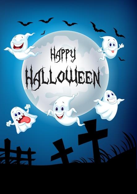 Halloween background with happy ghost flying over graveyard Premium Vector