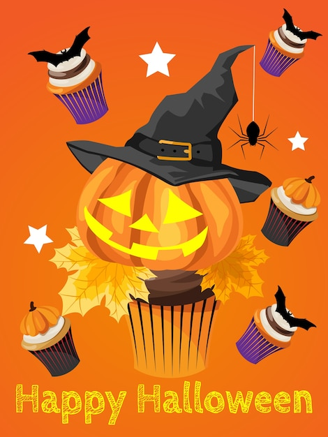 Halloween background with happy halloween text. Premium Vector