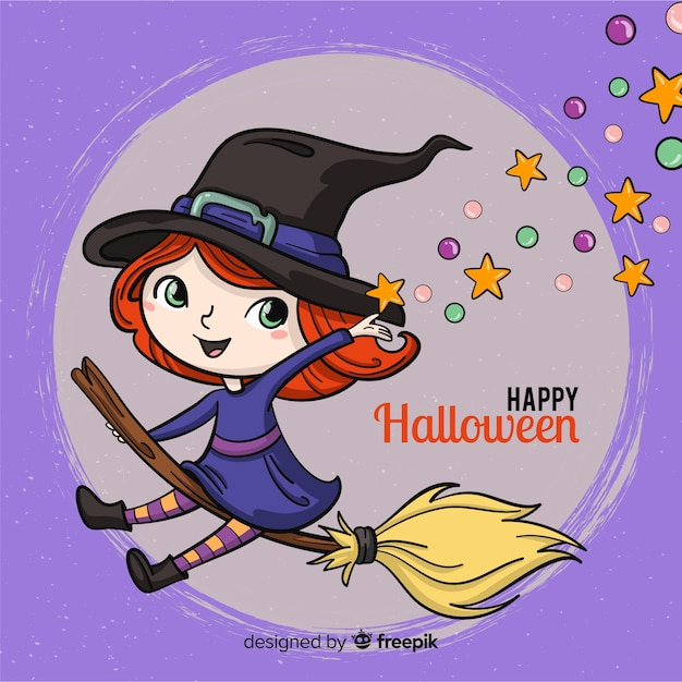 Halloween background with happy witch Free Vector