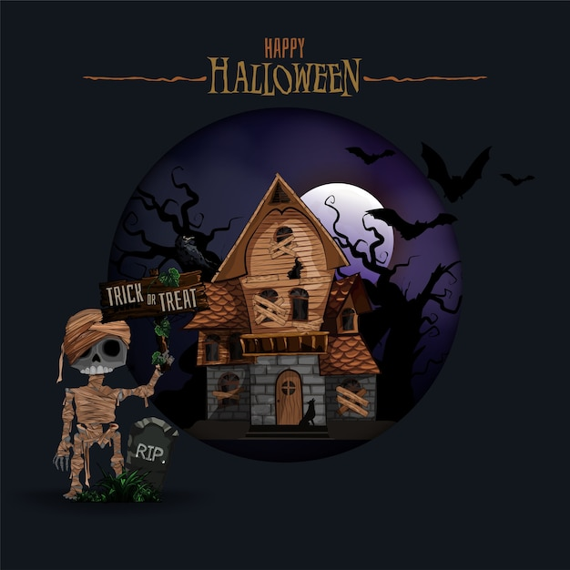 Halloween background with haunted house, bats and graveyard Premium Vector