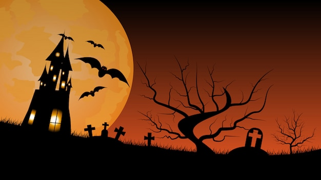 Halloween background with haunted house and graveyard. Premium Vector