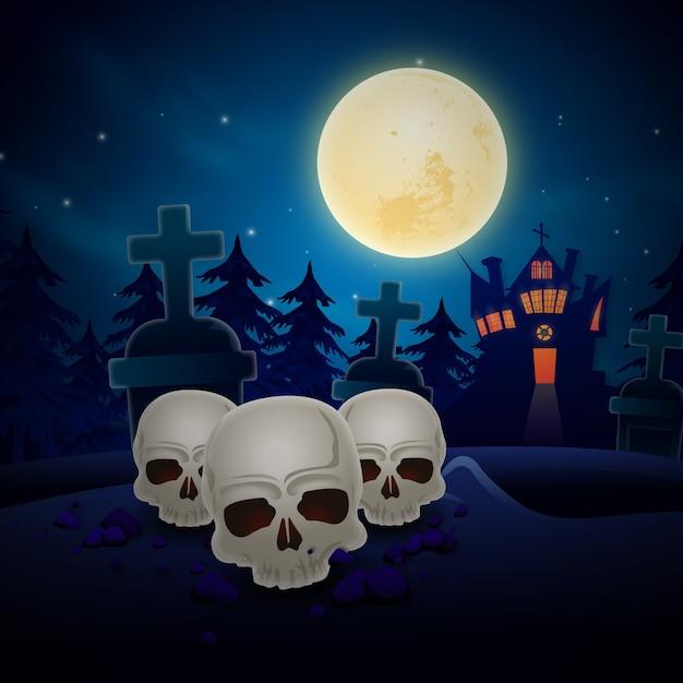 ホラー頭蓋骨とハロウィーンの背景 Premiumベクター