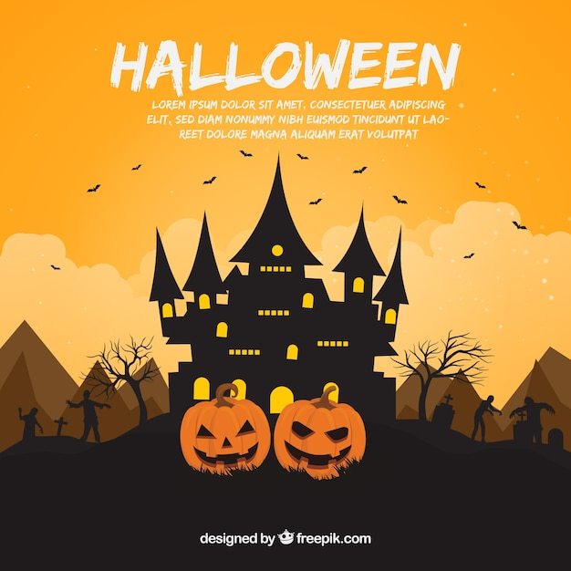 Halloween background with house and zombies