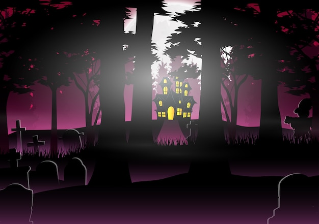 Halloween background with house in the forest Premium Vector