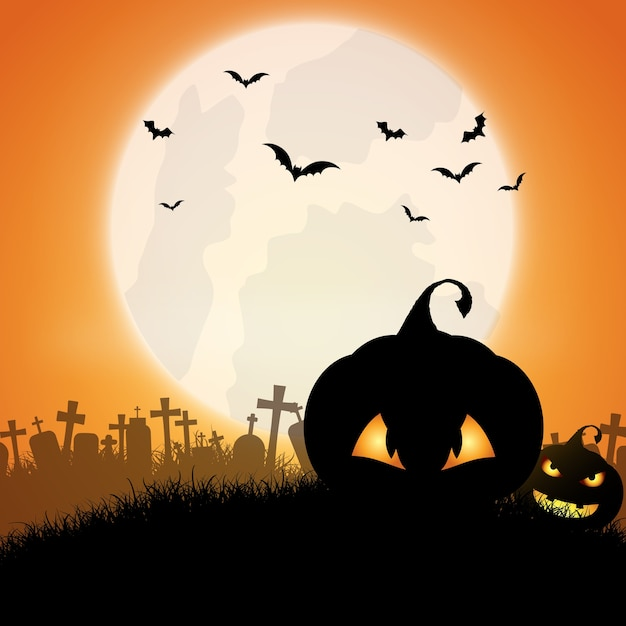 Halloween background with jack o lanterns Free Vector
