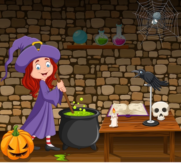Halloween background with little witch stirring magic potion Premium Vector