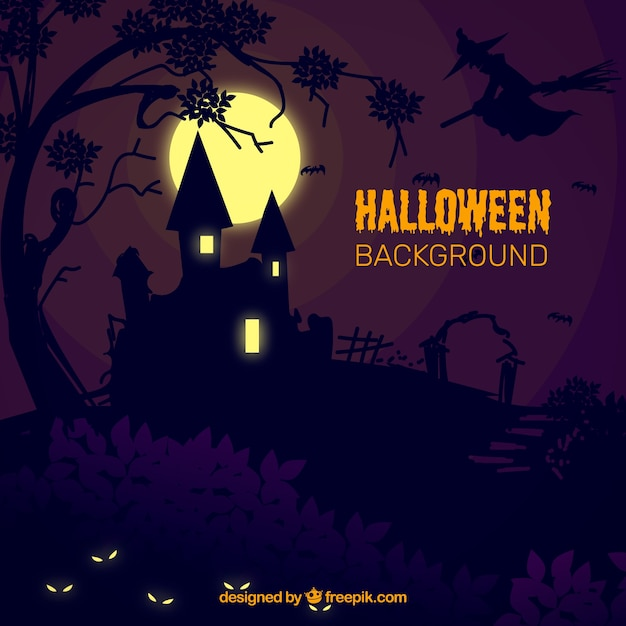 Halloween background with mansion in the\ night