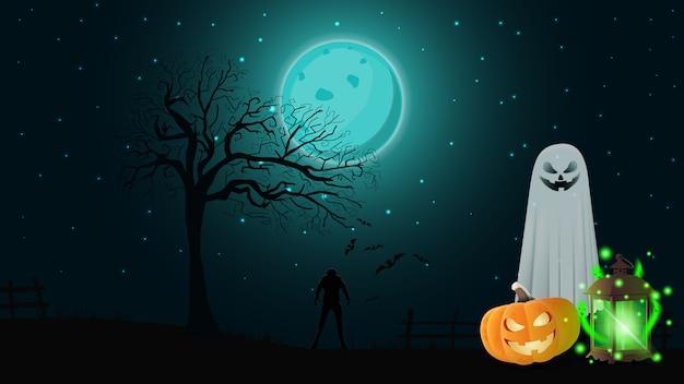 Хэллоуин фон с ночной пейзаж, призраки, тыква джек и древний фонарь с призраками Premium векторы