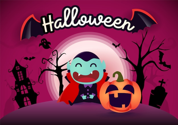 Halloween background with pumpkin dracula and the moon Premium Vector