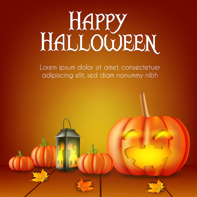 Halloween background with pumpkin and lamp Premium Vector