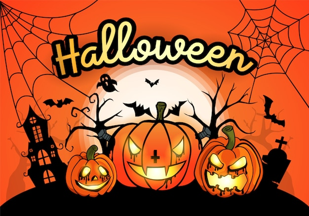 Halloween background with pumpkin and the moon Premium Vector