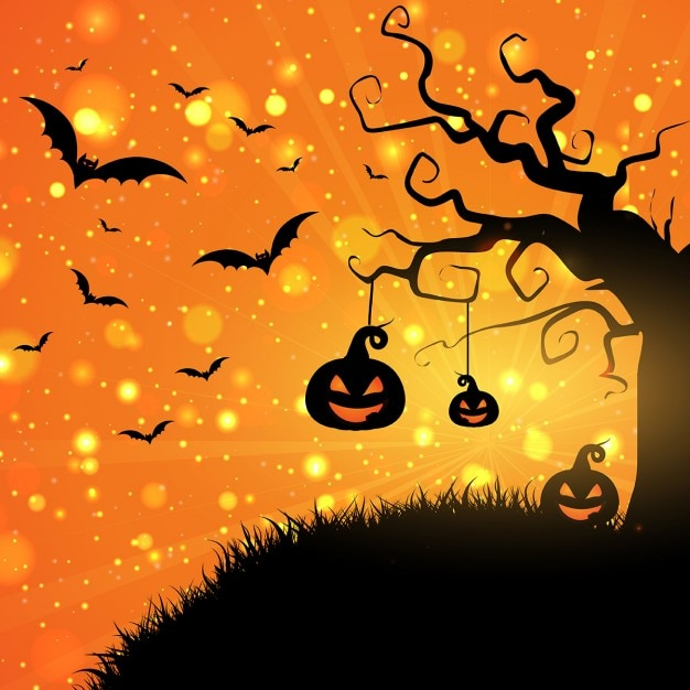 halloween background with pumpkins and bats vector free