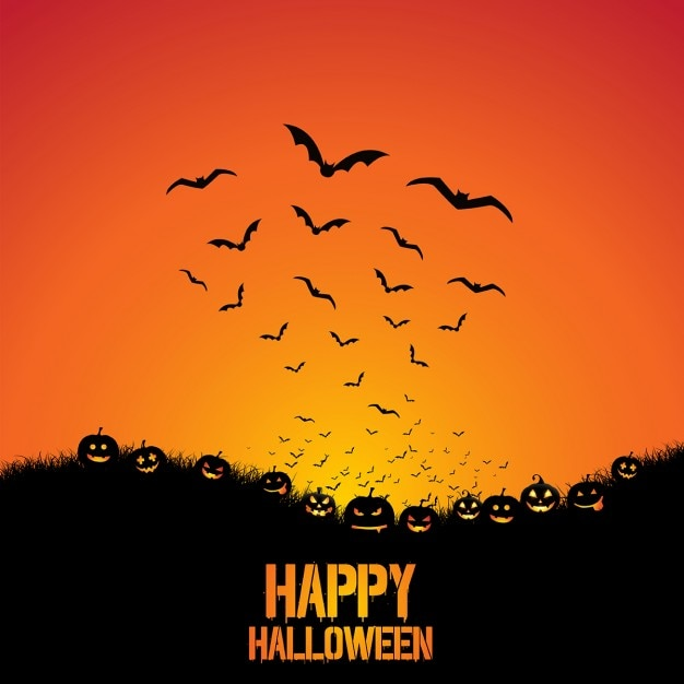 Halloween background with pumpkins and bats Free Vector