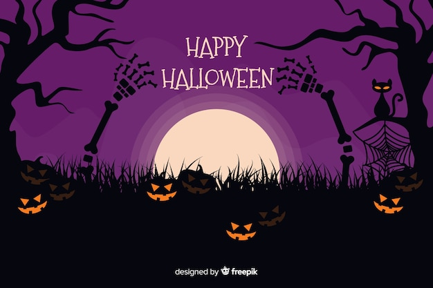 Halloween background with pumpkins on a purple night Free Vector