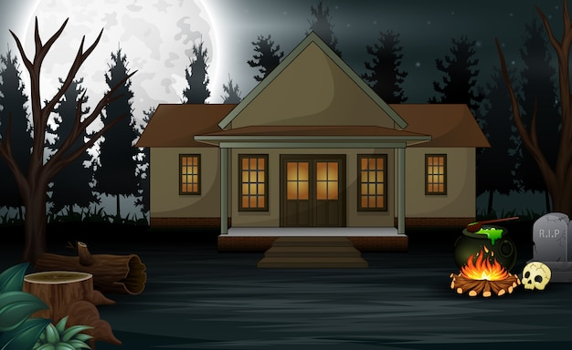 Halloween background with scary house and full moon Premium Vector