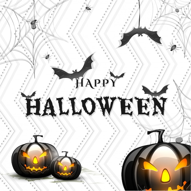 Halloween background with scary pumpkins. Premium Vector