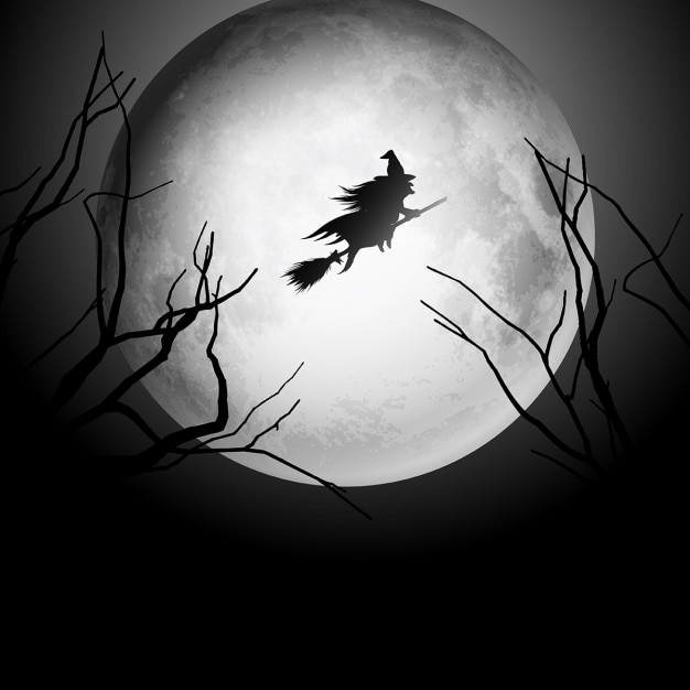 Halloween background with silhouette of a witch flying in the night sky Free Vector