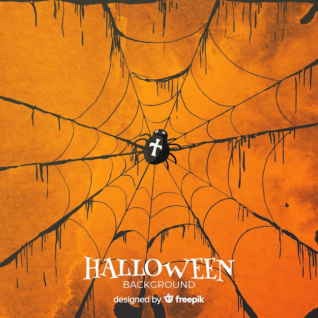 Halloween background with spider web in watercolor Free Vector