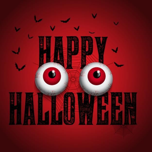 Halloween background with spooky eyeballs Free Vector